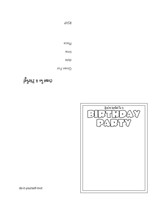 You're Invited To A Birthday Party Invitation Template