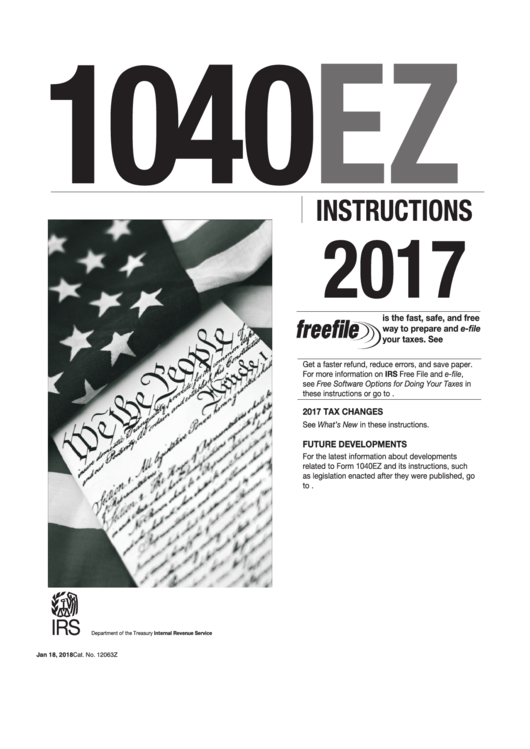 Instructions For Form 1040ez - Income Tax Return For Single And Joint Filers With No Dependents - 2017