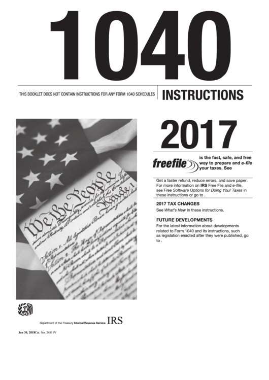 Instructions For Form 1040 - U.s. Individual Income Tax Return - 2017 Printable pdf