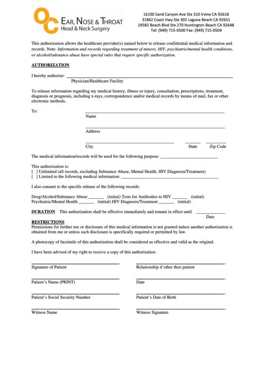 Medical Authorization Template Printable pdf