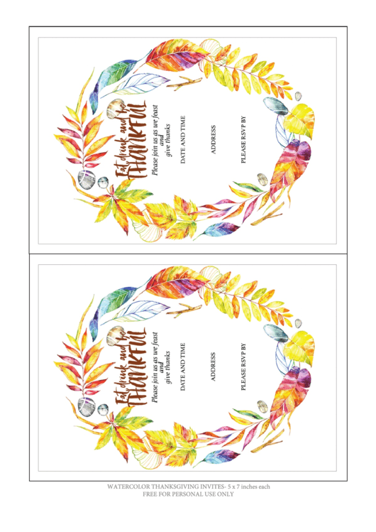 Eat, Drink And Be Thankful Invitation Template