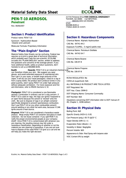 Material Safety Data Sheet - Pen-t-10 Aerosol Penetrant