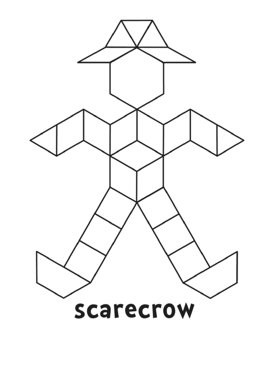picture relating to Scarecrow Pattern Printable identify Black And White Scarecrow Habit Block Template printable
