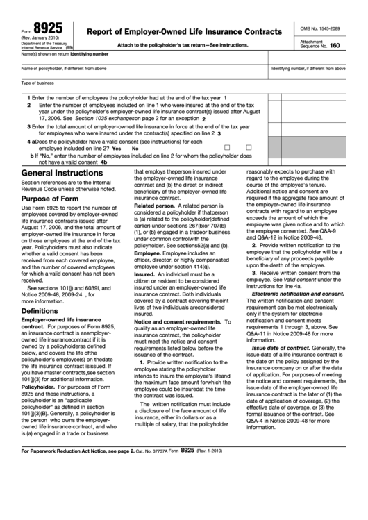Fillable Form 8925 - Report Of Employer-Owned Life Insurance Contracts Printable pdf