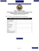 State Of West Virginia Certification Of Tobacco Product Manufacturer That Signed Master Settlement Agreement