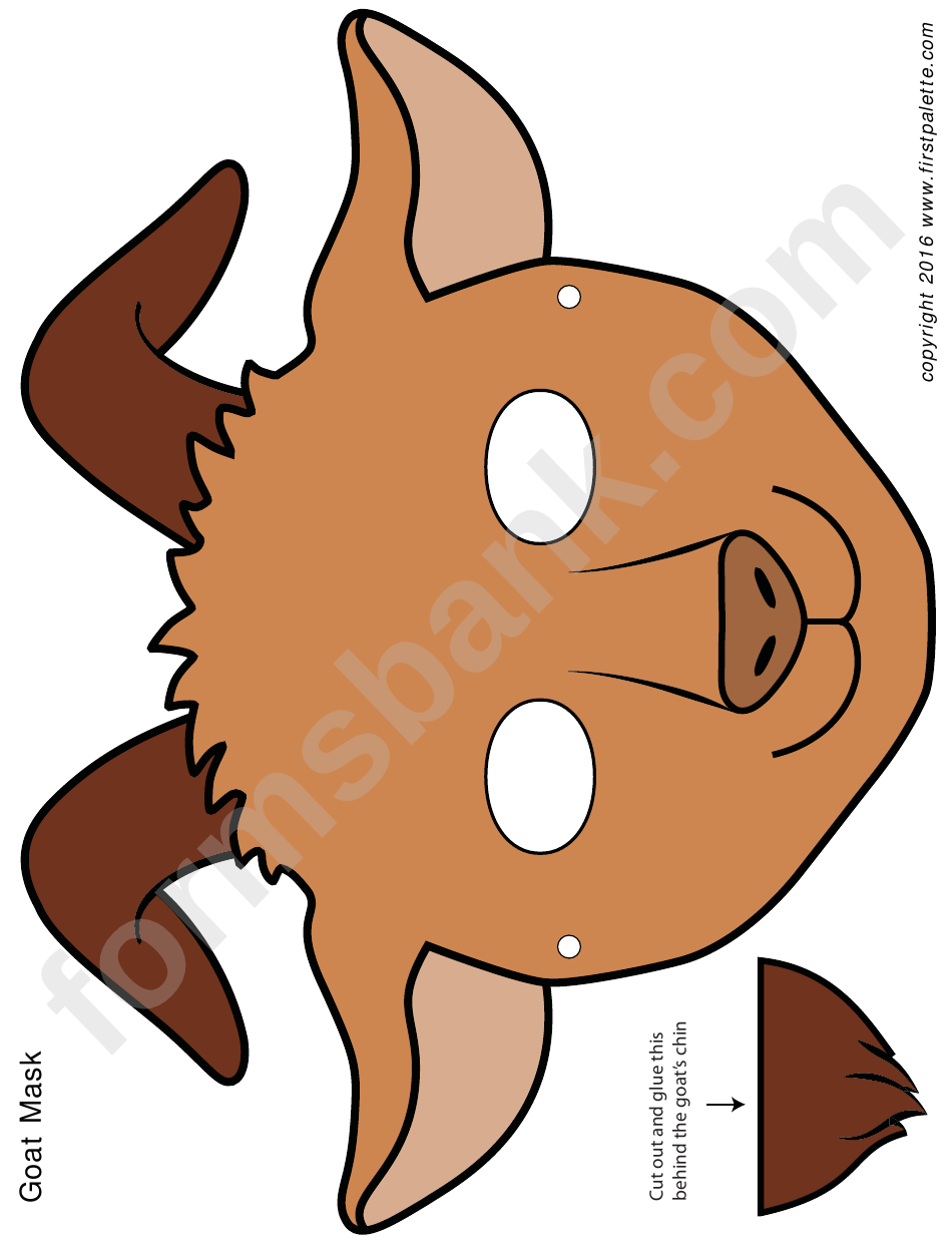 Brown Goat Mask Template printable pdf download