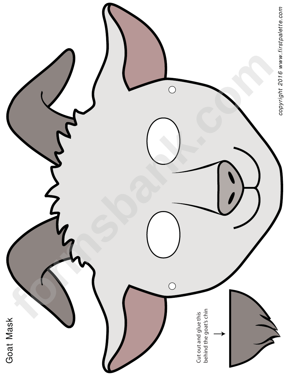 White Goat Mask Template printable pdf download