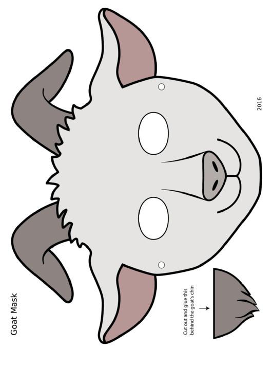 White Goat Mask Template printable pdf download