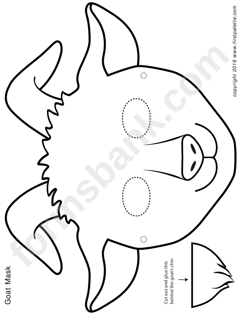 black  white goat mask template printable pdf download