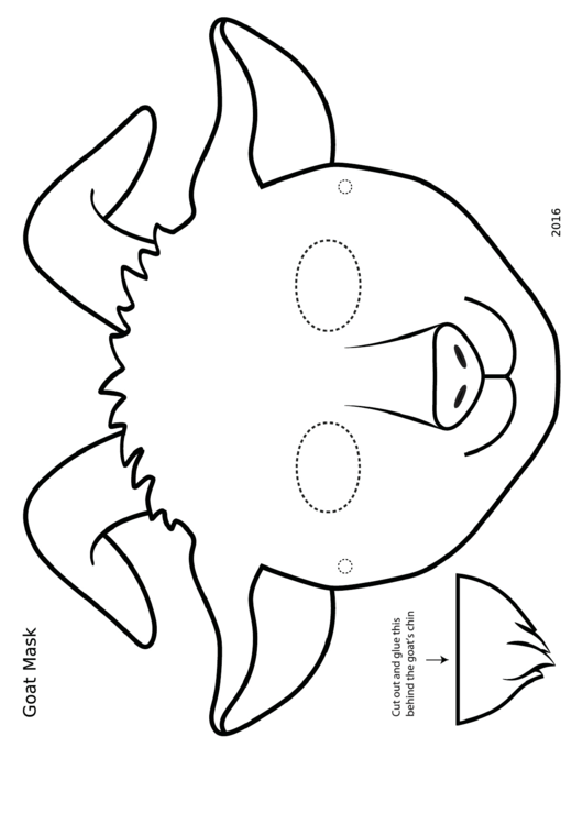 Blackwhite Goat Mask Template printable pdf download