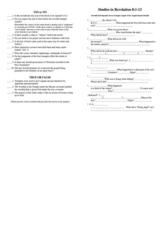Studies In Revelation 8-1-13 Bible Activity Sheets printable pdf