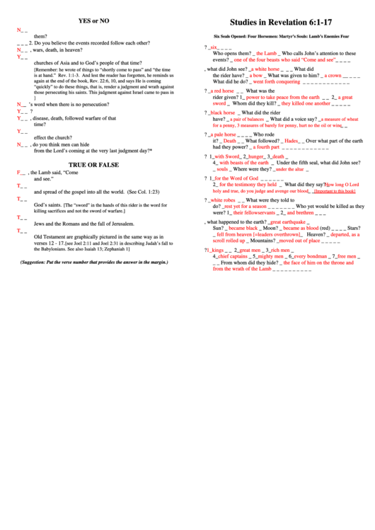 Studies In Revelation 6-1-17 Bible Activity Sheet With ...