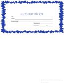 Gift Certificate Template - Blue Border