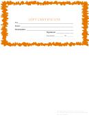 Gift Certificate Template - Orange Border