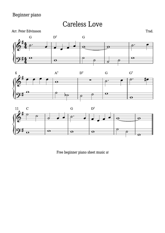 Careless Love Sheet Music printable pdf download
