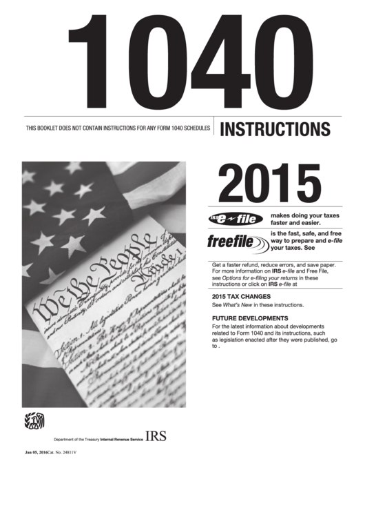 Form 1040 Instructions - 2015 Printable pdf