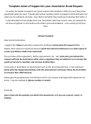 Sample Letter Of Support For Your Association Grant Request