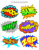 Superhero Comic Speech Bubble With Expressions Template Set