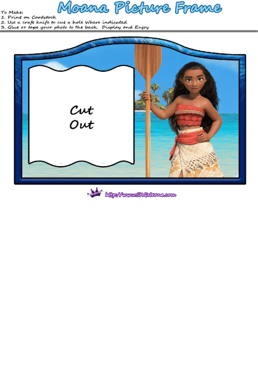 Moana Picture Frame Template Printable pdf
