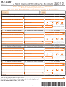 Form It-140w - West Virginia Withholding Tax Schedule - 2013