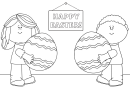 Happy Easter Coloring Sheet - Kids With Easter Eggs