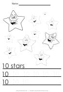 10 Stars Tracing Sheet