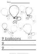 9 Balloons Tracing Sheet