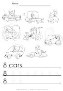 8 Cars Tracing Sheet