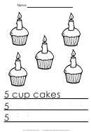 5 Cup Cakes Tracing Sheet