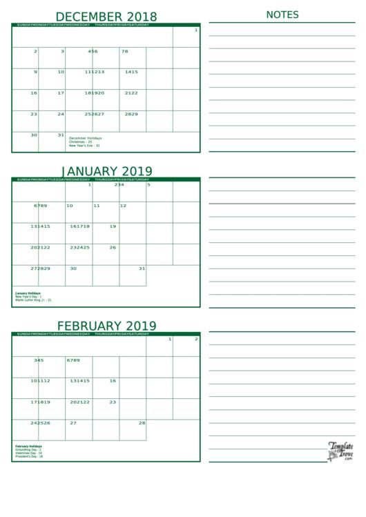 December 2018 February 2019 Calendar Template Printable Pdf Download
