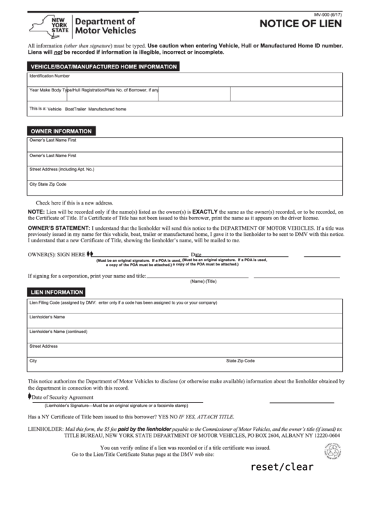 Ny Dmv Registration Form >> Form Mv-900 - Notice Of Lien printable pdf download