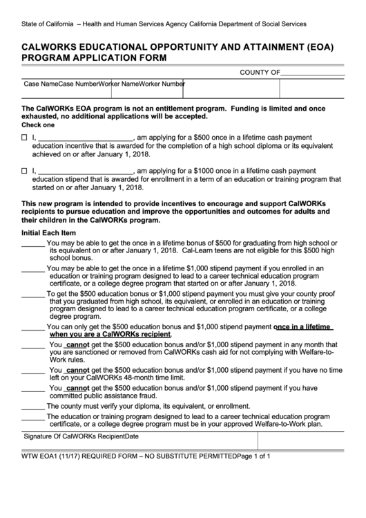 Fillable Form Wtw Eoa1 - Calworks Educational Opportunity And Attainment (Eoa) Program Application Form Printable pdf