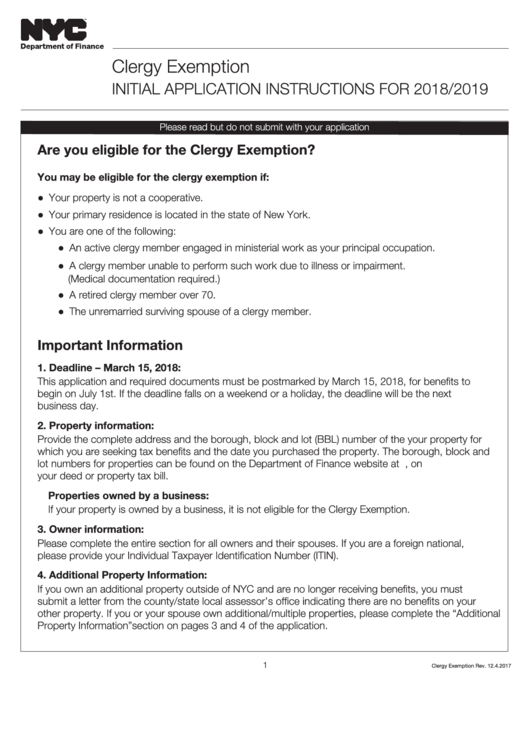 Clergy Exemption Initial Application For 2018/2019 - Nyc Department Of Finance