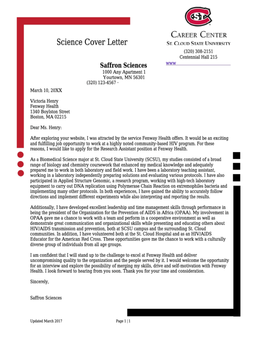 Science Cover Letter Sample Printable pdf