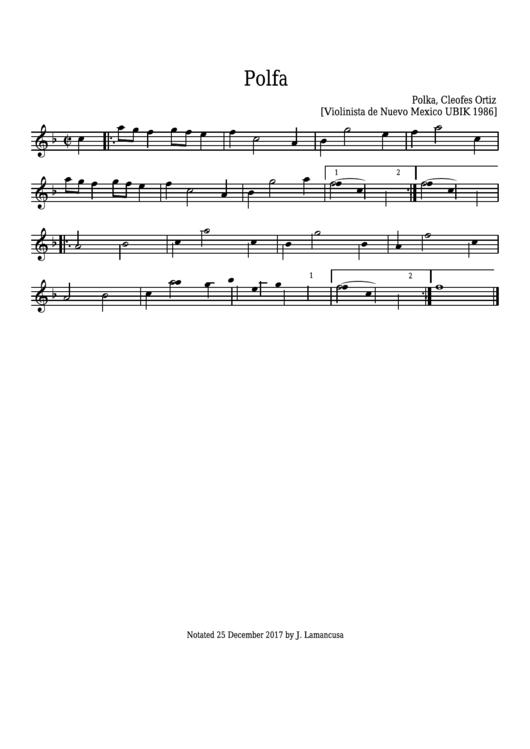 Polfa (polka In F) - Cleofes Ortiz - Sheet Music