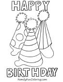3 Caps Happy Birthday Coloring Sheets