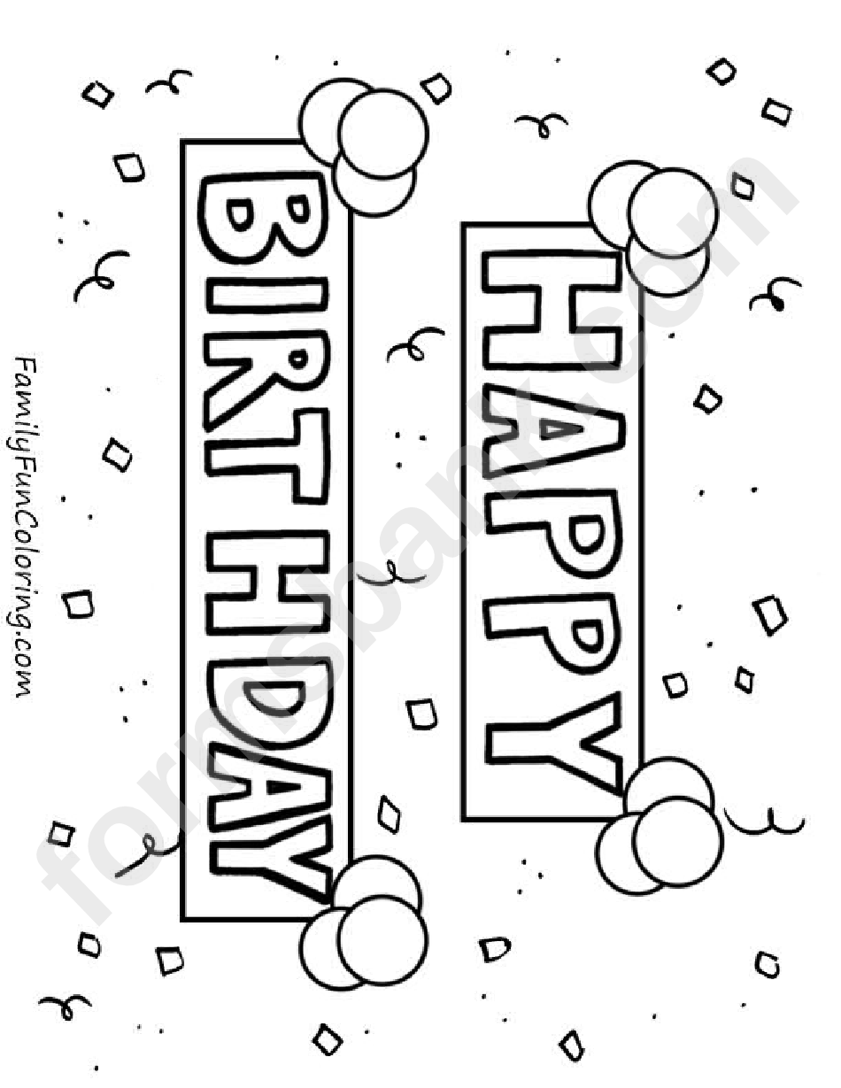 Banner Happy Birthday Coloring Sheets printable pdf download