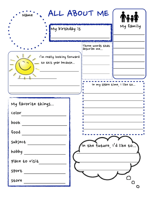 All About Me Poster Template printable pdf download