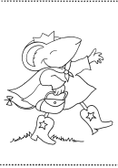 Mouse In A Crown And Boots Coloring Sheet