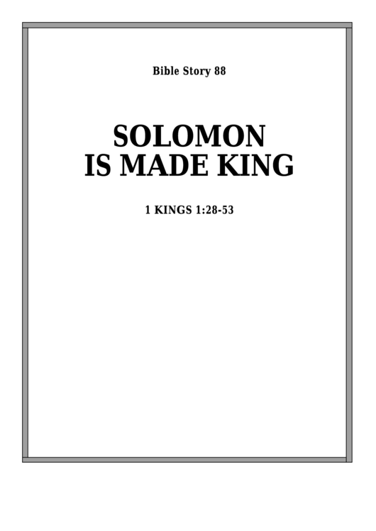 Solomon Is Made King Bible Activity Sheet Set Printable