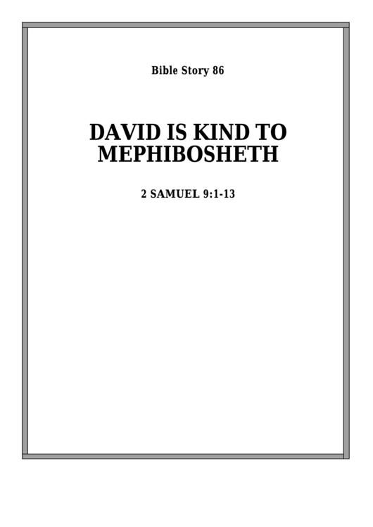 David Is Kind To Mephibosheth Bible Activity Sheet Set ...