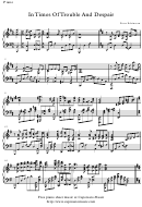 Peter Edvinsson - In Times Of Trouble And Despair Sheet Music