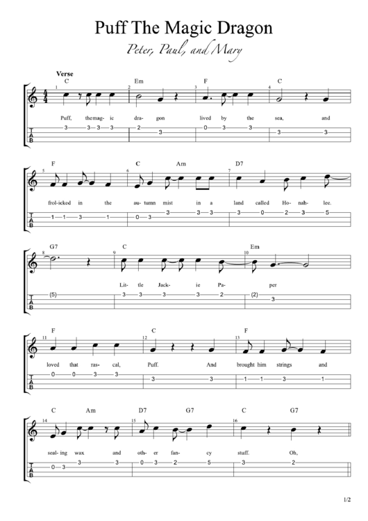 Peter, Paul And Mary - Puff The Magic Dragon Sheet Music printable ...