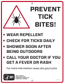 Prevent Tick Bites Trail Sign Template