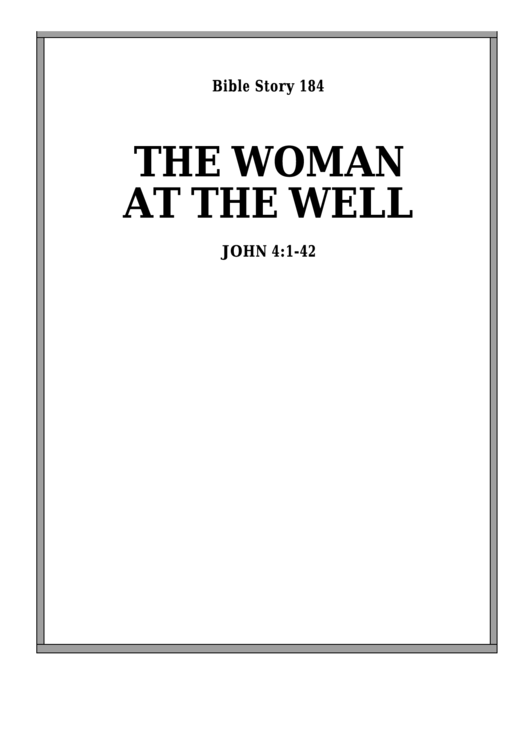 The Woman At The Well Bible Activity Sheet Set Printable