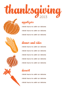 Thanksgiving Veggies Menu Template