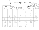 September Calendar Math Journal Kids Activity Sheets