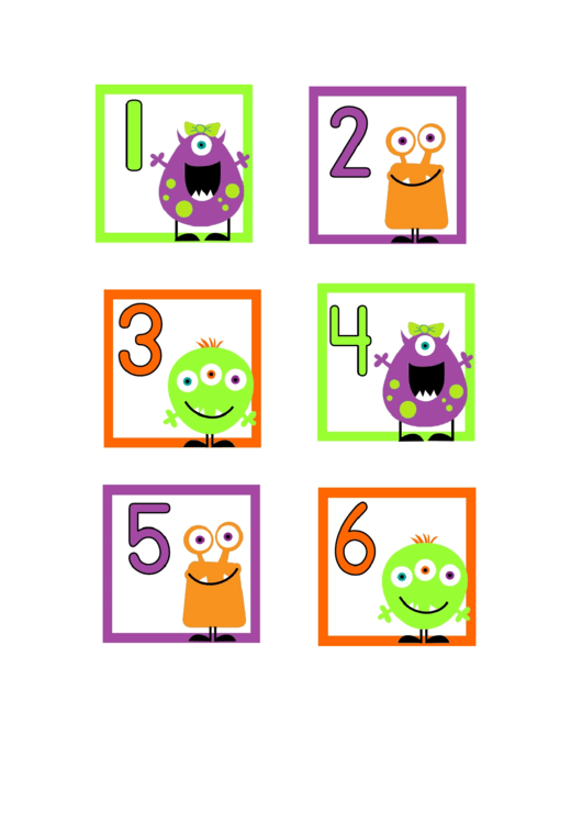 Monster Numbers Game Card Template