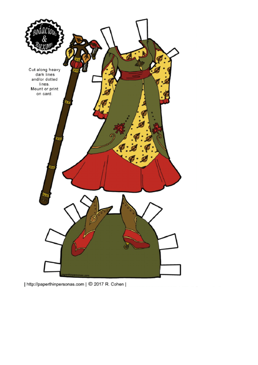Autumn Style Paper Doll Dress Template