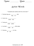 Action Words Worksheet Template